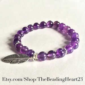 Amethyst Feather Healing Bracelet